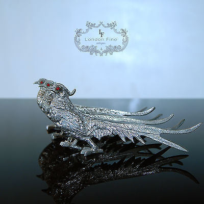 Antique Set of 3 Silvered Pheasants Game Birds Table Centerpiece Tableware c1900 - London Fine Antiques