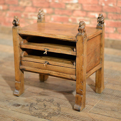 Antique Stool Cabinet Small Side Table, English Oak, Carved Animals, Curiosity - London Fine Antiques