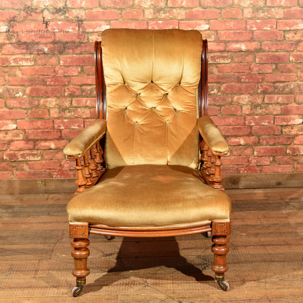 Victorian Walnut Armchair, Upholstered, c.1880 - London Fine Antiques - 7