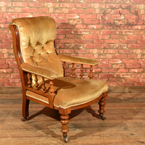 Victorian Walnut Armchair, Upholstered, c.1880 - London Fine Antiques - 1