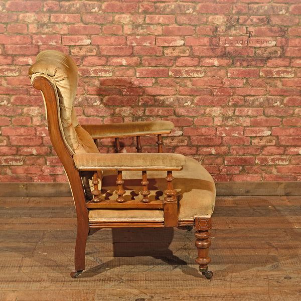 Victorian Walnut Armchair, Upholstered, c.1880 - London Fine Antiques - 3