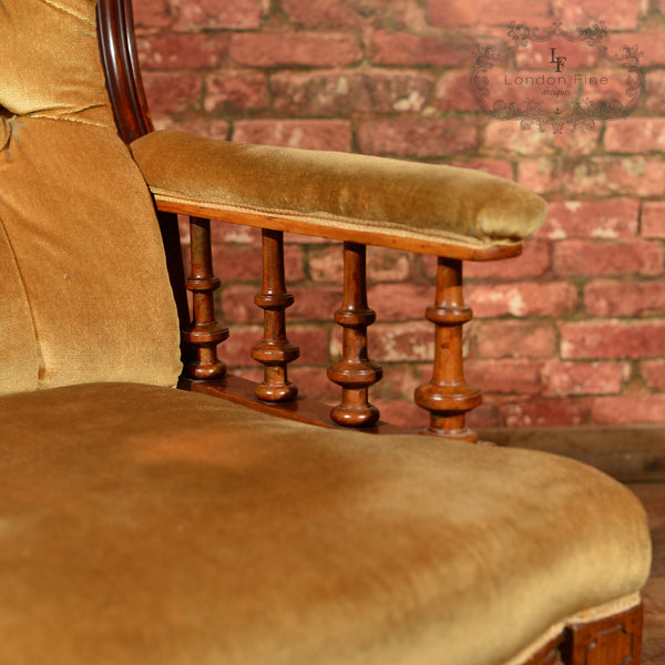 Victorian Walnut Armchair, Upholstered, c.1880 - London Fine Antiques - 6