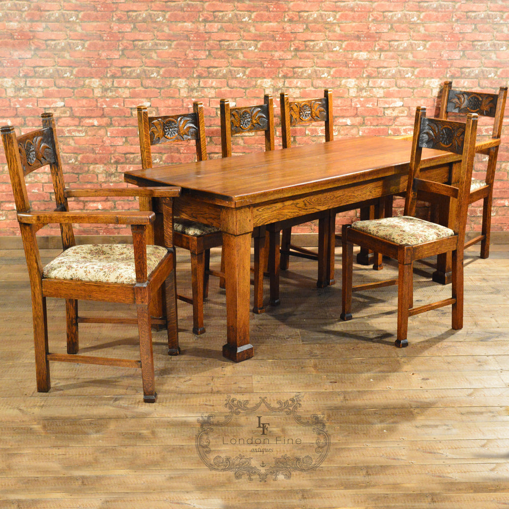 Arts Crafts Dining Table 6 Chairs on Quarter Sawn Oak Library Table
