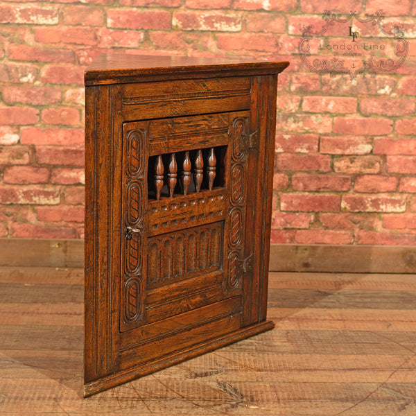 Small Edwardian Corner Cabinet, Jacobean Revival - London Fine Antiques