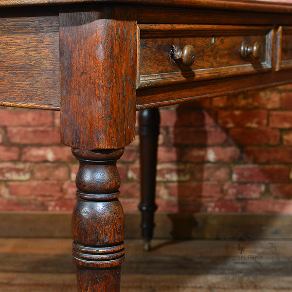 Victorian Leather Top Desk, c.1900 - London Fine Antiques - 4