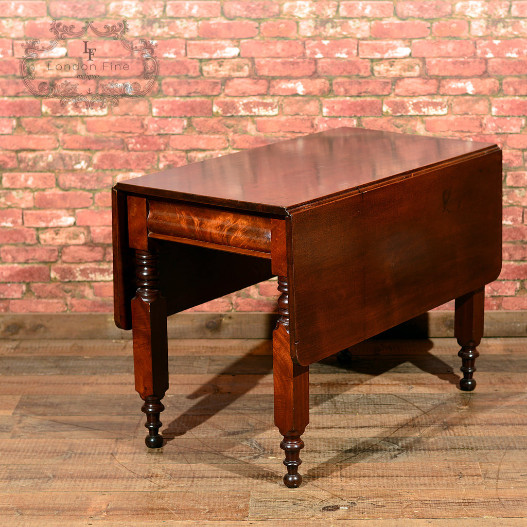 Victorian Mahogany Drop Leaf Dining Table - London Fine Antiques - 1