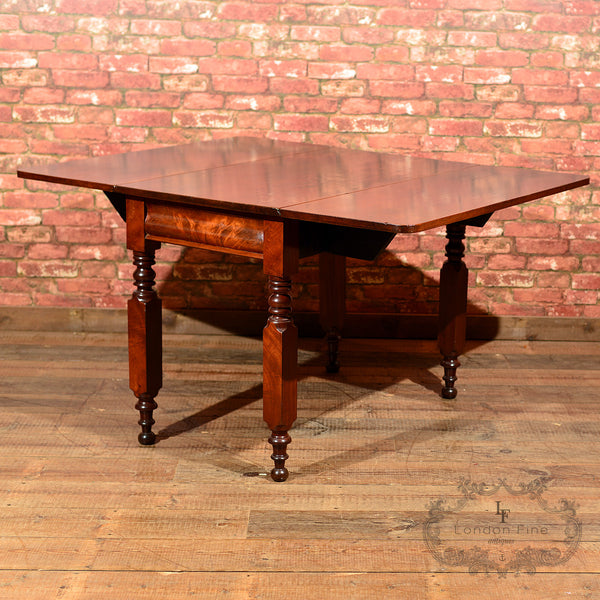 Victorian Mahogany Drop Leaf Dining Table - London Fine Antiques - 2