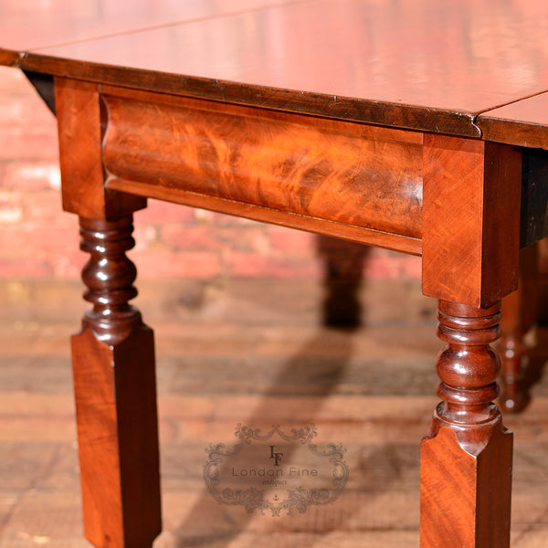 Victorian Mahogany Drop Leaf Dining Table - London Fine Antiques - 9