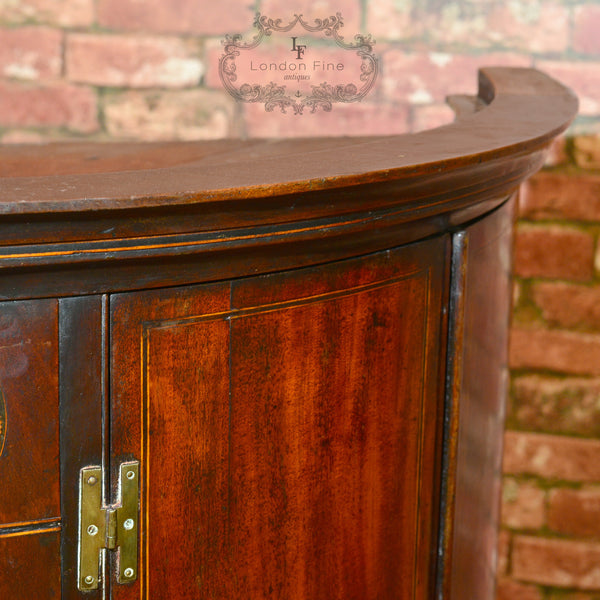 Georgian Bow Fronted Corner Cabinet, c.1780 - London Fine Antiques
