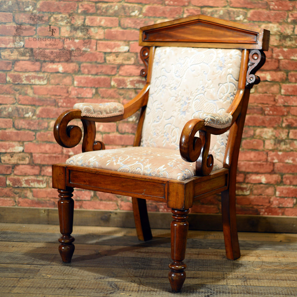 Victorian Walnut Library Chair, c.1860 - London Fine Antiques