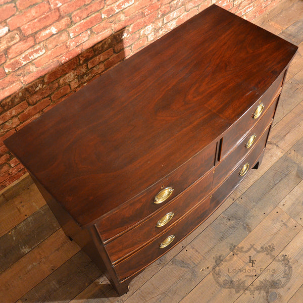 Regency Bow Fronted Chest of Drawers - London Fine Antiques - 12