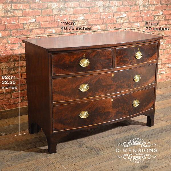 Regency Bow Fronted Chest of Drawers - London Fine Antiques