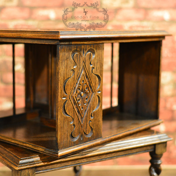 Edwardian Revolving Library Bookcase - London Fine Antiques - 7