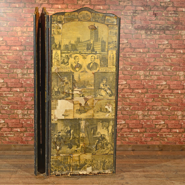 Victorian Scrap Screen, 3 Fold Panel, c.1900 - London Fine Antiques