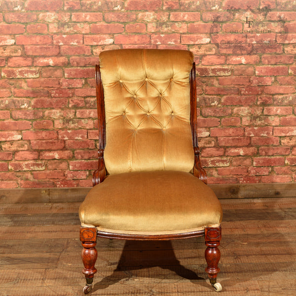 Victorian Walnut Side Chair, Upholstered, c.1880 - London Fine Antiques - 3
