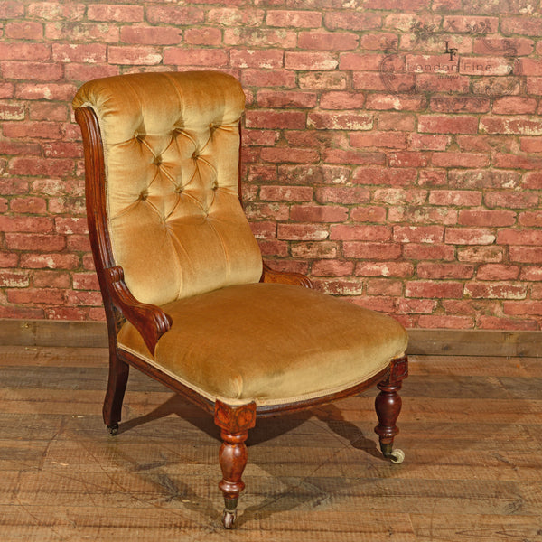 Victorian Walnut Side Chair, Upholstered, c.1880 - London Fine Antiques