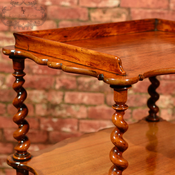 Victorian 3 Tier Walnut Whatnot, c.1880 - London Fine Antiques - 8