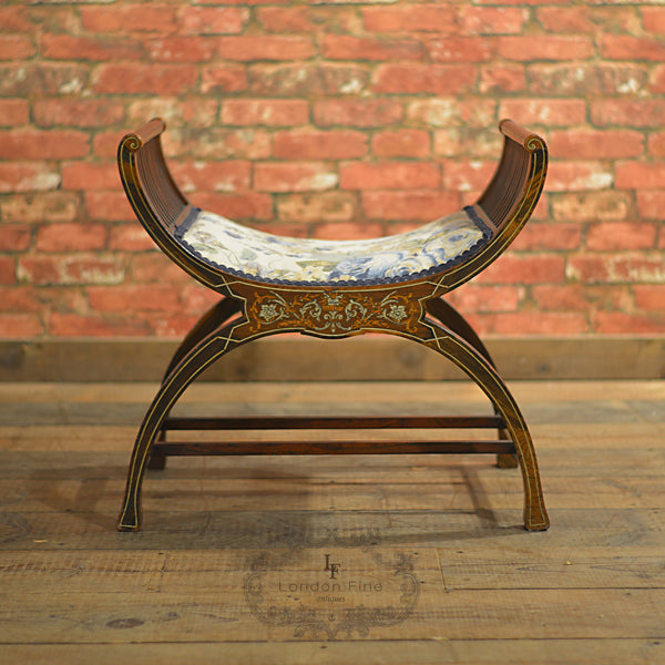 Edwardian 'X' Frame Stool - London Fine Antiques