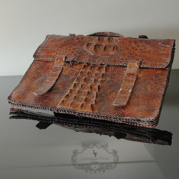 Edwardian Crocodile Brief Case - London Fine Antiques - 7