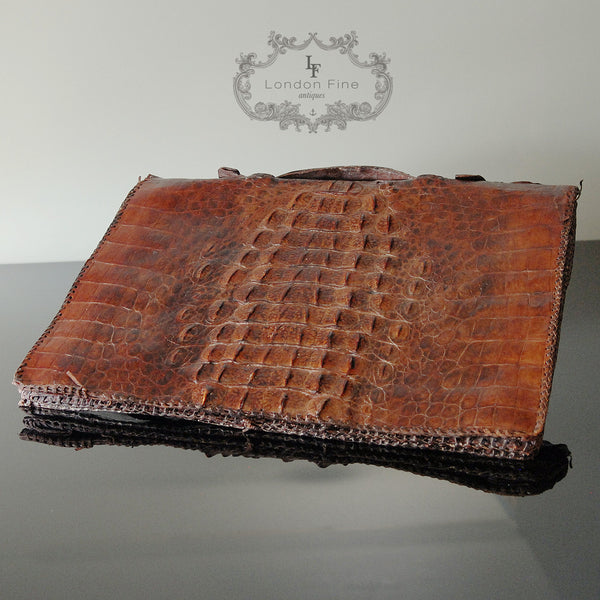 Edwardian Crocodile Brief Case - London Fine Antiques