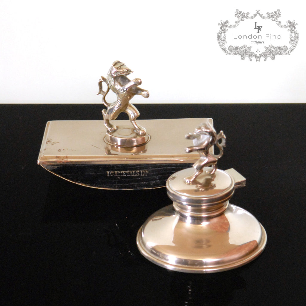 Vintage '40s Inkwell & Blotter - London Fine Antiques - 1