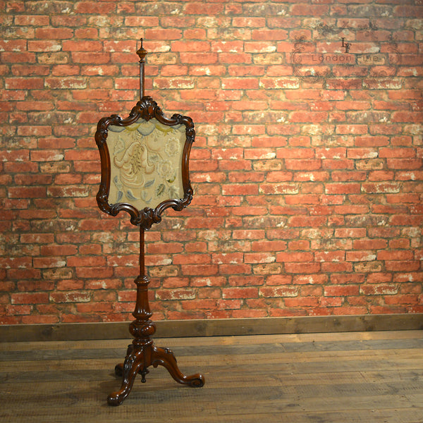 Victorian Pole Screen - London Fine Antiques - 1