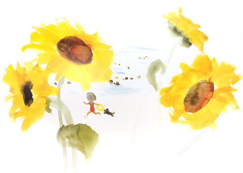 Chichiro Iwasaki - Children and Little Dog Playing Among Sunflowers at Seaside @ 大樹孩子生活館             Tree Children's Lodge, Hong Kong