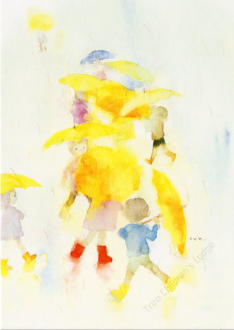 Chichiro Iwasaki - Children Playing Under Yellow Umbrellas @ 大樹孩子生活館             Tree Children's Lodge, Hong Kong