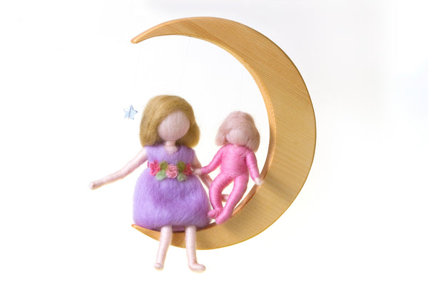 Needle Felted Mobile - Girls Sitting on the Moon @ 大樹孩子生活館             Tree Children's Lodge, Hong Kong - 1