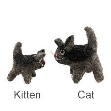 Grey Kitten Felted Wool Toy