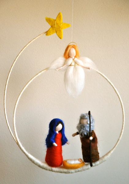 Needle Felted Mobile - Maria, Joseph and the baby with an angel @ 大樹孩子生活館             Tree Children's Lodge, Hong Kong