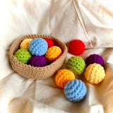 Crocheted Rainbow Balls (6 pieces) with Basket