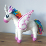 Rainbow Mother Alicorn Felted Wool Toy