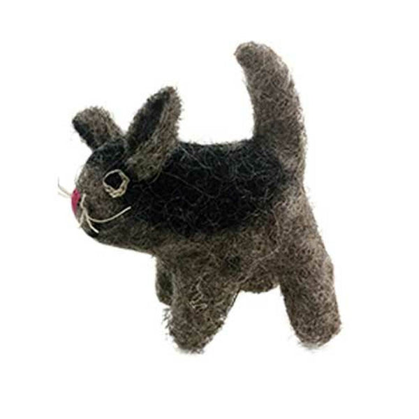 Grey Cat Felted Wool Toy