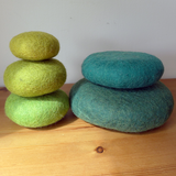 Green Felted Stacking Stones