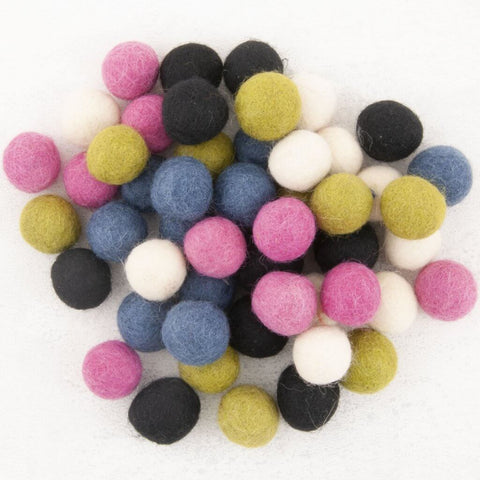 Pure Wool Felted beads (10 pieces - Assorted Colors)