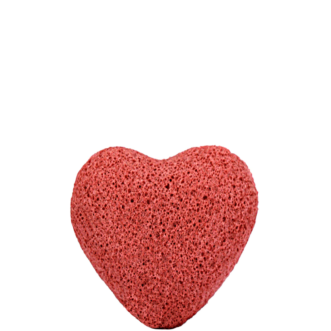 French Red Clay Konjac Facial Sponge Heart