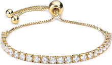 Load image into Gallery viewer, Tennis Bracelet 18k Gold plated Adjustable Length 3mm