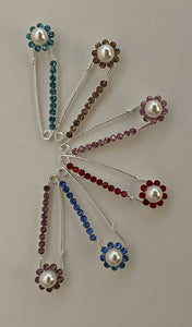 Pearl Circle Sparkle Pin Back Safety Pins
