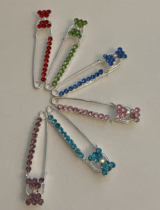 Bow Sparkle Pin Back Safety Pins