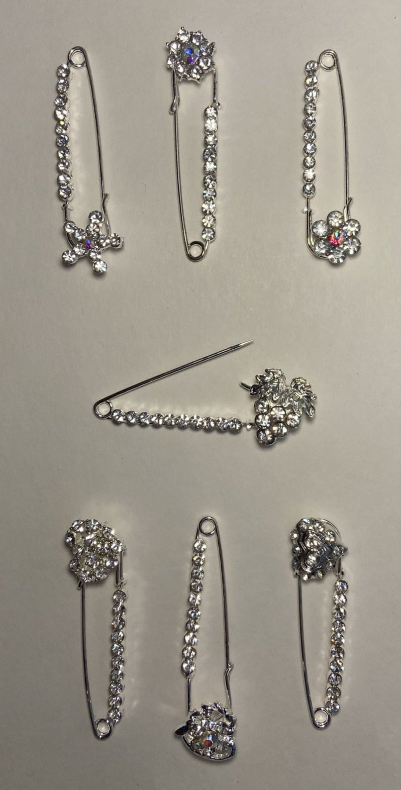 Silver Sparkle Pin Back Safety Pins with Ornaments
