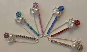 Pearl Flower Sparkle Pin Back Safety Pins