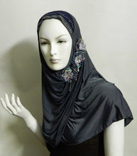 Load image into Gallery viewer, 1-Piece Amira Hijab with flowers and Rhinestone