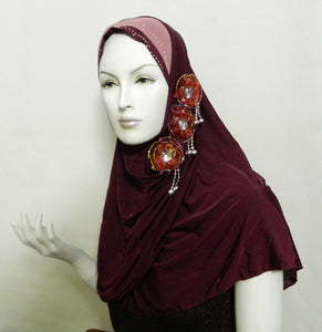 1-Piece Amira Hijab with flowers and Rhinestone