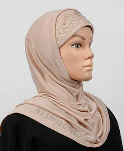 Two Piece Polyester Hijab with Beads