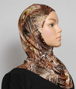 Girl's 1-Piece Gold Accent Printed Hijabs