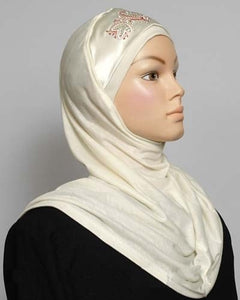 1-Piece Amira Hijab w/Embroidery and Satin Design