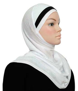1-Piece Cotton Hijab with One Stripe Over Head
