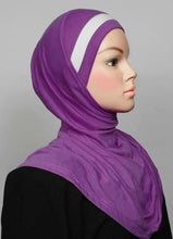 Load image into Gallery viewer, 1-Piece Cotton Hijab with One Stripe Over Head