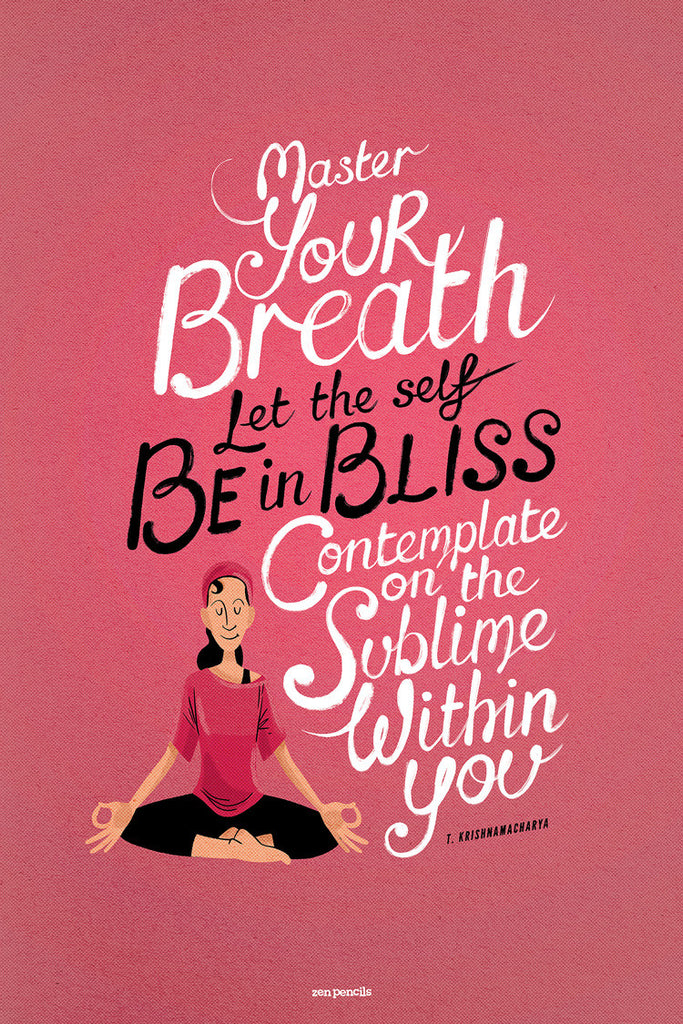 Master your breath - yoga poster (pink)